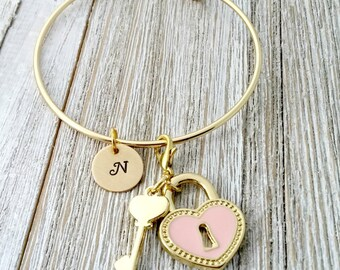 Personalized Gold Bangle, Pink Heart, Lock and Key