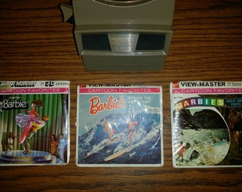 1970's Vintage Viewmaster and 3 Barbie Viewmaster Reels