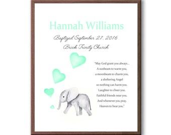 Art For Baby Girl, Baby Girl Dedication Art Gift, Baby Elephant, Art Gift For Baptism