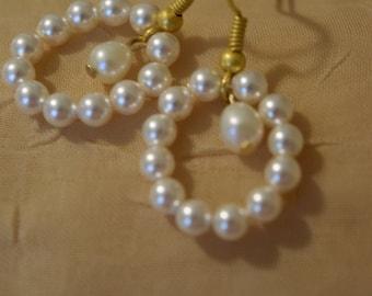 Bridal earrings, teardrop pearl and swarovski crystal pearl earrings