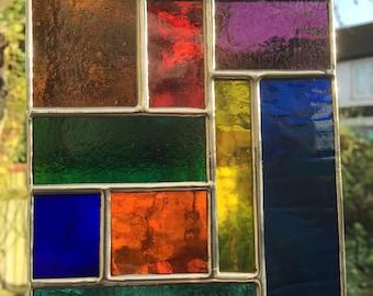 Multi Coloured Abstract Stained Glass Suncatcher Panel Handmade - designsinglass - CRhodesGlassArt