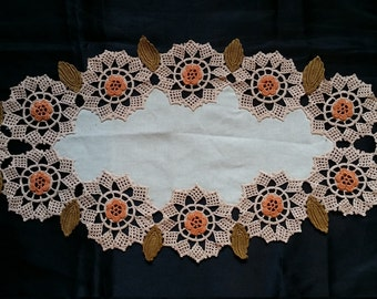 Vintage Handmade Knitted Lace Tablecloth 100% cotton