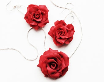 Red Rose Necklace, Flower pendant, Polymer clay necklace, Red rose pendant, Red flower jewelry, red roses, passion rose, one rose, custom