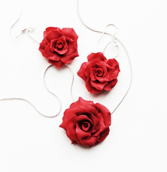 Red rose necklace flower pendant polymer clay necklace red like this item mozeypictures Image collections