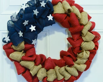 Americana Wreath, Patriotic Wreath, 4th of July Wreath, Memorial Day Wreath, Veteran's Day Wreath, America Wreath, American Flag Wreath