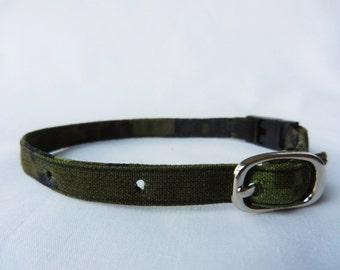 Adjustable Cat Collar - Green Camouflage - Breakaway Buckle - Optional Jingle Bell