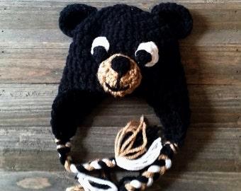 Preemie New born Black Bear hat