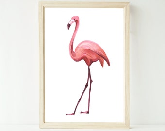 Watercolour flamingo artwork print up to extra large A1