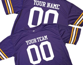 Gameday Fan Wear Custom Football Jerseys - includes Team Name, Player Name, Front and Back Player Number.