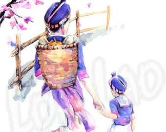 Hmong Art Painting, Mother, Daughter, Cherry Blossom, Watercolor