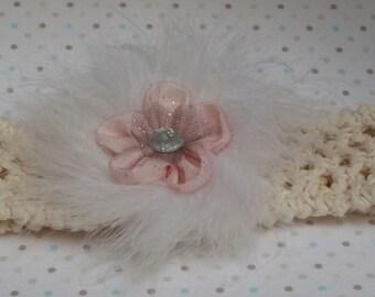 Crochet Girls/Adult Headband, handmade in 100% Cotton with Fabric Flower