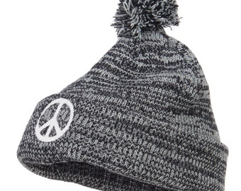 Peace Symbol Embroidered Pom Cuff Beanie