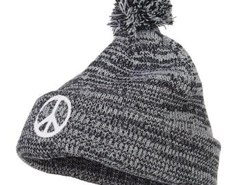 Peace Symbol Embroidered Pom Cuff Beanie