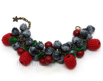 Blueberry, raspberry and cranberry bracelet made of polymer clay (realistic wild forest berries crafted into a beautiful piece of jewelry)