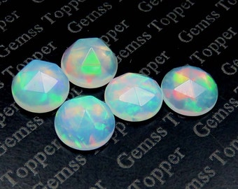 6mm Opal Rose Cut AAA Quality Multi Color flashy Fire - Natural Welo Opal Faceted Cabochon Ethiopian Opal Round Gemstone - Roce Cut Opal