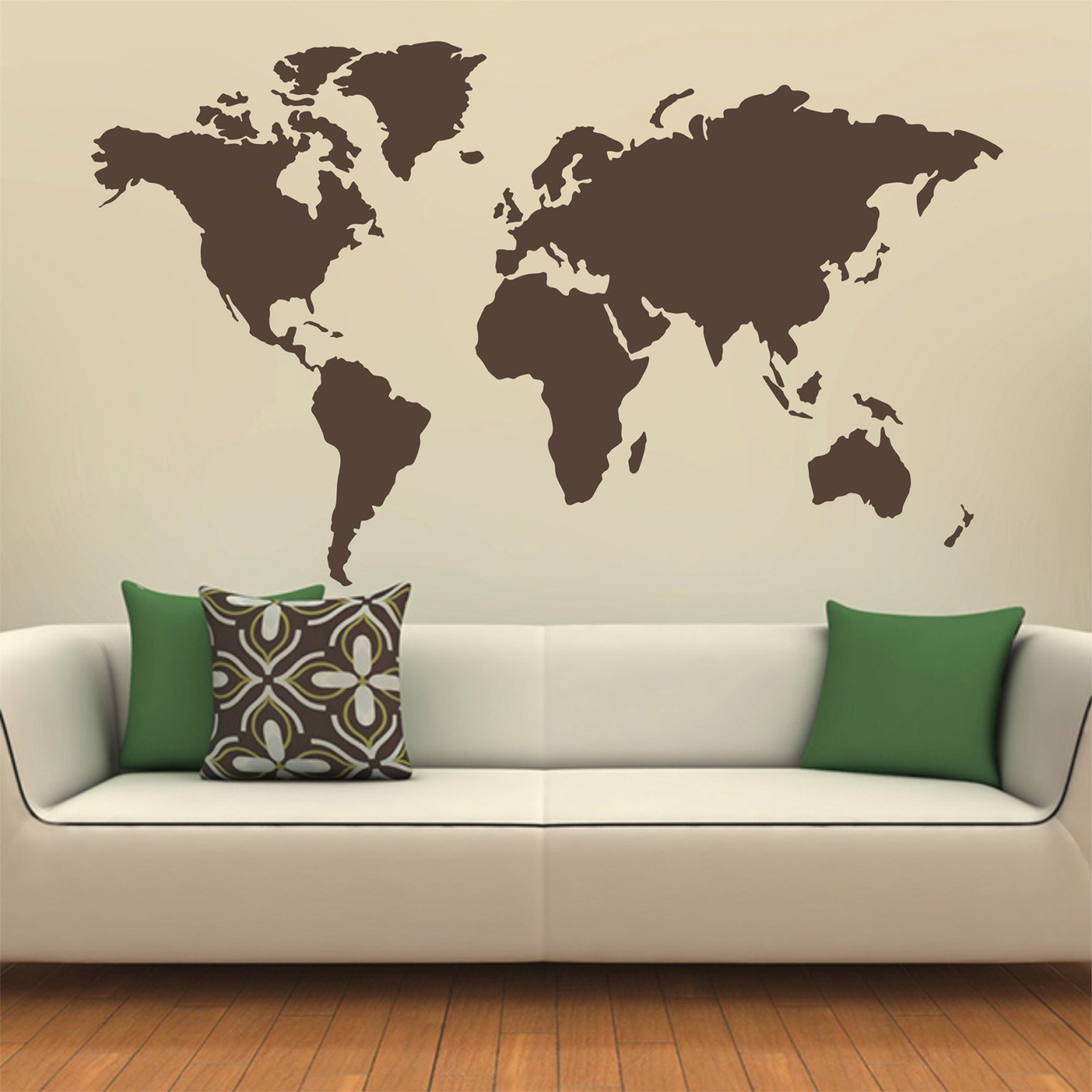 Map of the world silhouette wall decal Globe wall decal Wall
