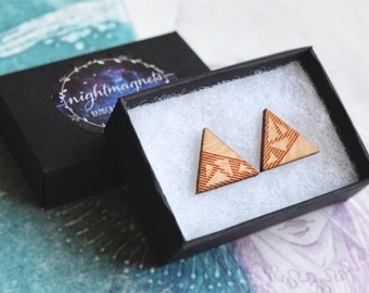 Wooden Engraved Triangle Stud Earrings