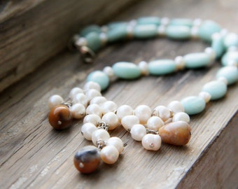 Retro blue amazonite necklace 1980s with natural freshwater pearls. Vintage necklace. Boho style.