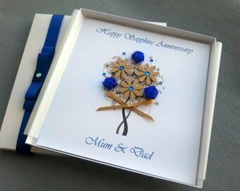 Sapphire Diamond Silver Emerald Ruby Wedding Anniversary Congratulations Card Handmade Personalised Keepsake Parents Grandparents Friends