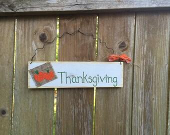 Thanksgiving Rustic Hanging Wood Sign; Hand-painted Thanksgiving Door Sign; Thanksgiving Door Sign; Seasonal Decor; Holiday Decor;