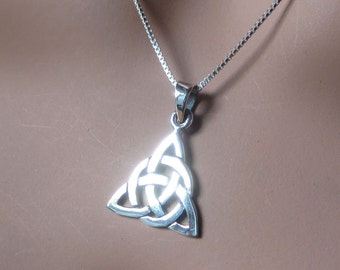 Sterling Silver Celtic Triquetra Pendant Charm Womens Jewelry Gift Family Symbolic