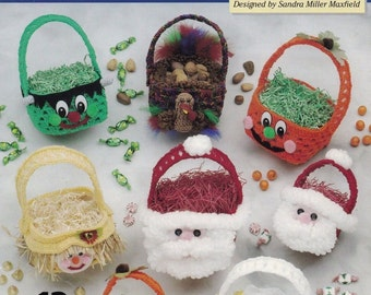 2-Hour Holiday Baskets, The Needlecraft Shop Crochet Decor Pattern Booklet 201027