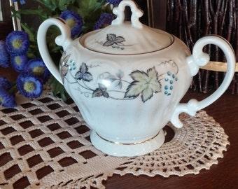 Vintage Sugar Bowl by Style House Japan Bordeaux Grapes Leaves Gold Trim w Lid