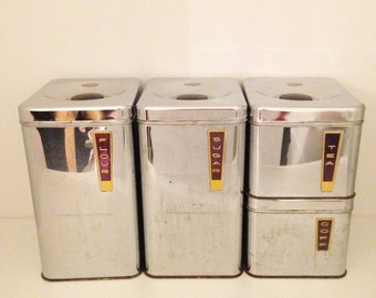 Mid Century Chrome Kitchen Canisters by Lincoln Beautyware with Gold and Black Art Deco Labels