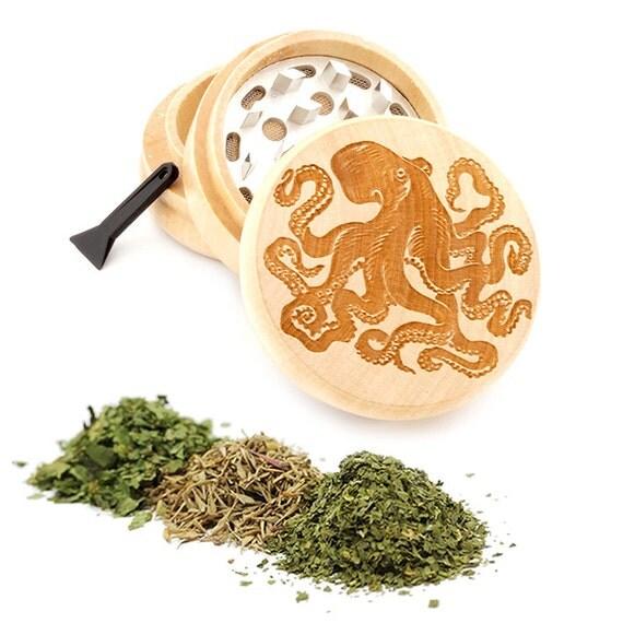 Octopus Engraved Premium Natural Wooden Grinder Item # PW050916-74