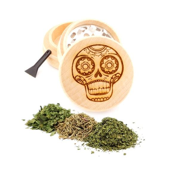 Sugar Skull Engraved Premium Natural Wooden Grinder Item # PW91316-34