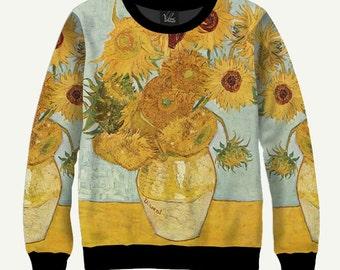 Sunflowers By Vincent Van Gogh - Men's Women's Sweatshirt | Sweater - XS, S, M, L, XL, 2XL, 3XL, 4XL, 5XL