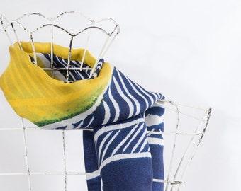 Silk scarf blue & yellow
