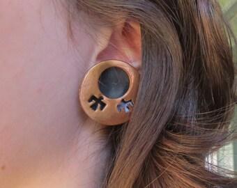 Vintage Copper Southwestern Thunderbird Earrings