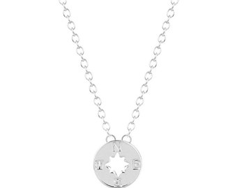 Silver Tiny Compass Necklace