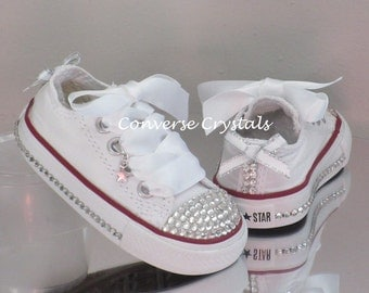 Girls Custom Glass Crystal Toes, Sides and Backs *Bling* Converse Infant sizes 2-10. Colour, Crystal & Ribbon Options Available