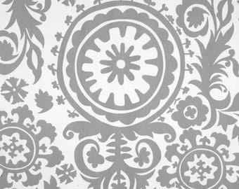 Premier Prints Cotton Twill Fabric, Grey Suzani Fabric