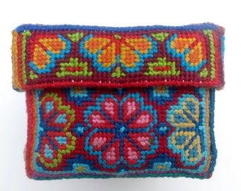 Colourful Bespoke Hand-stitched Needlepoint Box with Flower Design Pattern