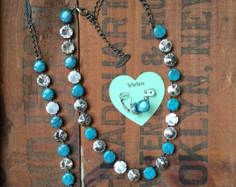 Turquoise & Crystal Necklace