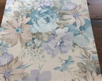 "Vintage 1977 Wallpaper Sample - 17""x15"" - Brown, Pink, Blue, Peach Flowers (A862)"