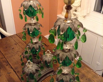 Green Prism Lamps Hollywood Regency Style Cascade Lamps Set, Christmas Tree Lamp (A344)