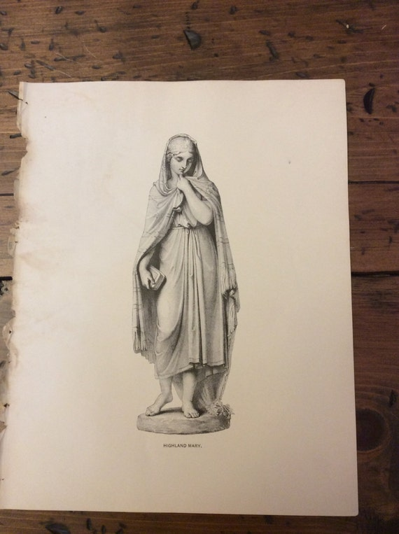 Antique Print - Wood Engraving, Highland Mary, Burns Poem, 1892 Book Page (B034)