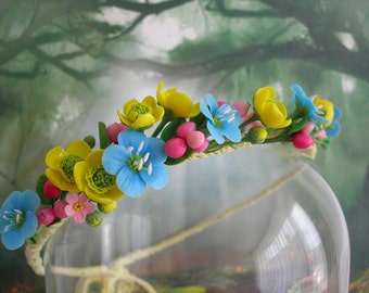 Field-flower wreath made of polymer clay