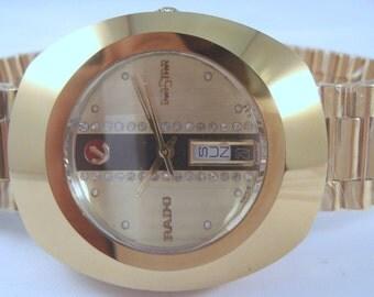 RARE VINTAGE RADO Golden Diastar Automatic Day Date Swiss Made Men's Wrist Used Watch