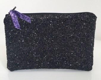 Black glitter clutch bag,  glitter clutch bag, evening clutch bag, wedding clutch bag, prom clutch bag, black evening bag
