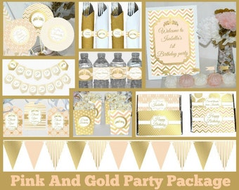Pink and gold birthday package printable, Pink and gold birthday decorations printable, Princess party decorations, first birthday