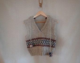 Pom Pom Hoodie Sweater Vest