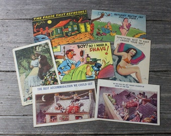 Instant collection of 8 color postcards, vintage humor, funny images. Postcards, collectibles, ephemera, vintage postcards