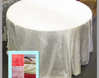 Ivory Crushed Satin 112 Inches Round Tablecloth
