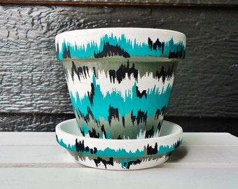 Black, White, Green, and Grey Hand-Painted Pot//Chevron-Patterned Hand-Painted Pot//Hand-Painted Flower Pot//Abstract Flower Pot