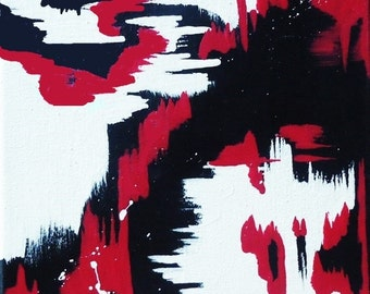 Red, White, and Black Original Abstract Art//Red and Black Painting